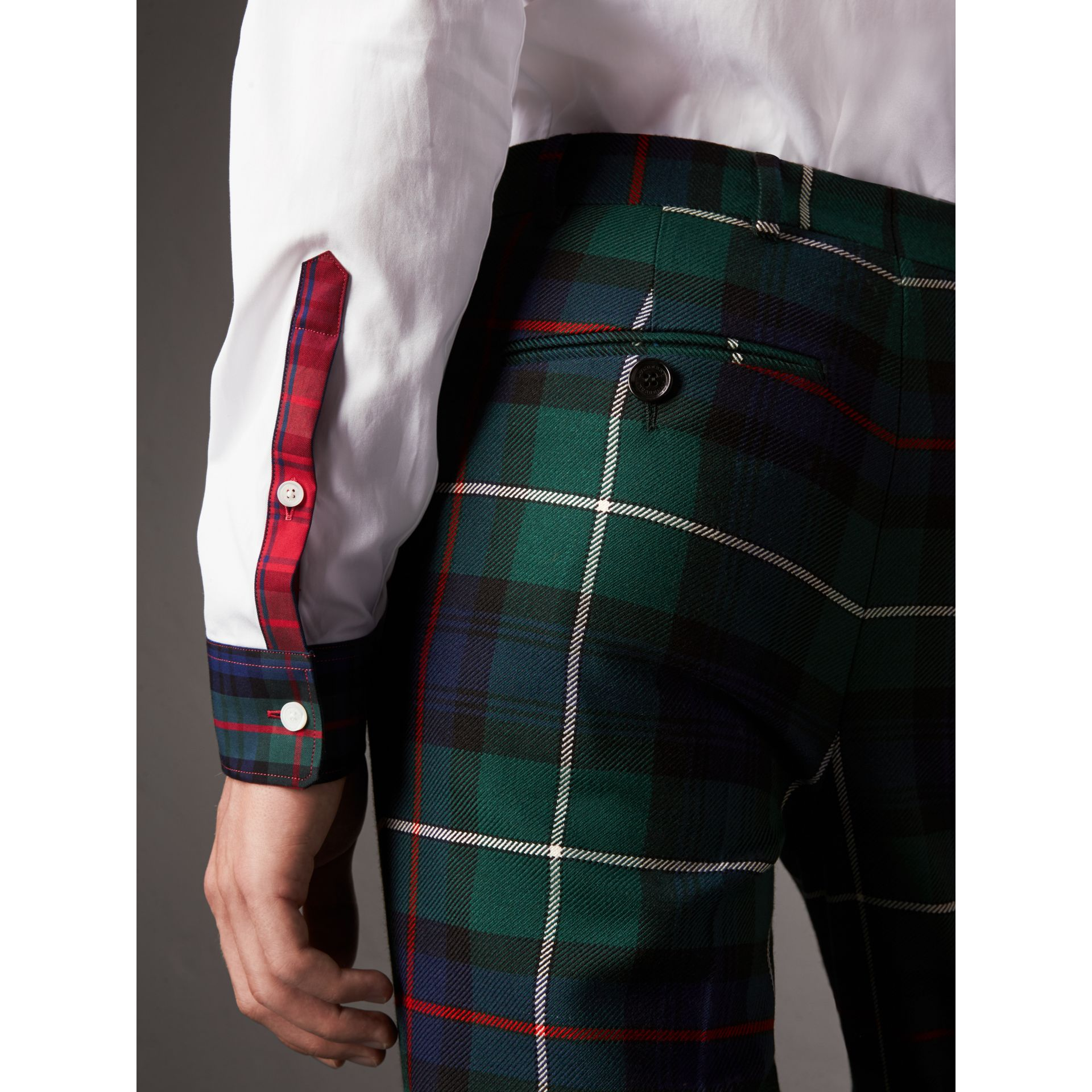 Tartan Cotton Gabardine Detail Cotton Poplin Shirt in White - Men | Burberry - gallery image 5