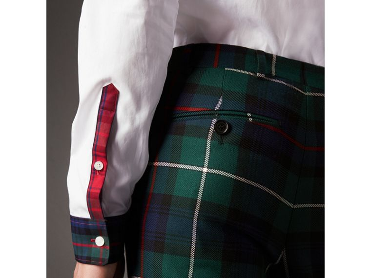 Tartan Cotton Gabardine Detail Cotton Poplin Shirt in White - Men | Burberry United Kingdom - cell image 4