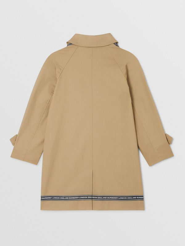 Logo Tape Cotton Car Coat in Honey | Burberry United States - cell image 3