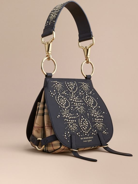 Sac The Bridle en cuir à rivets avec motifs Fruit and Flowers (Noir) - Femme | Burberry