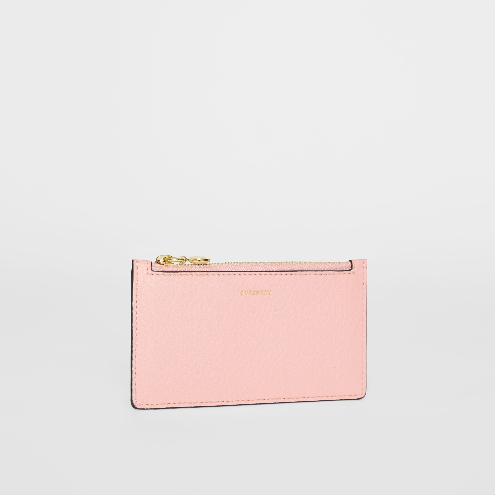 Leather Zip Card Case in Pale Ash Rose | Burberry - gallery image 3