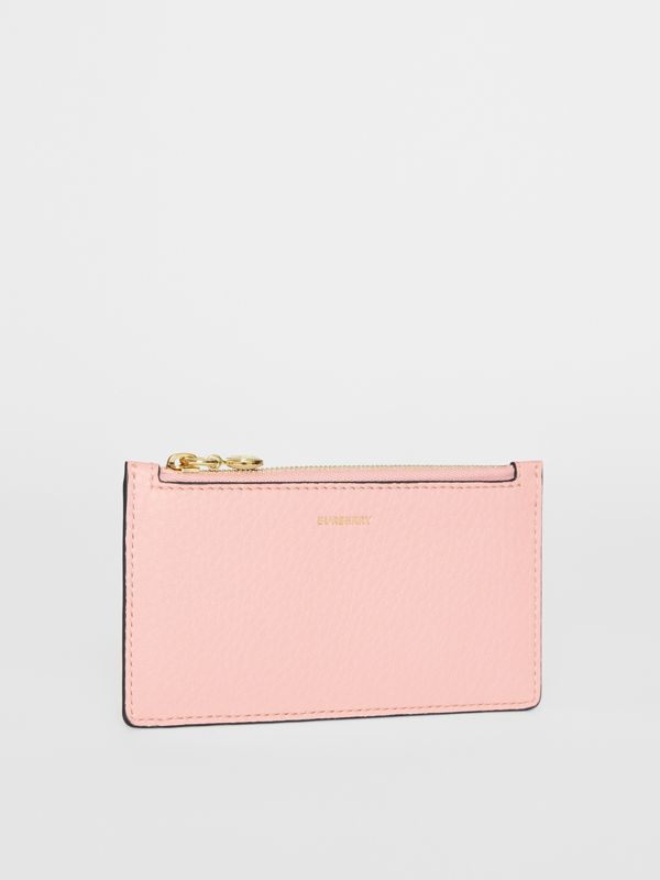 Leather Zip Card Case in Pale Ash Rose | Burberry Australia - cell image 3