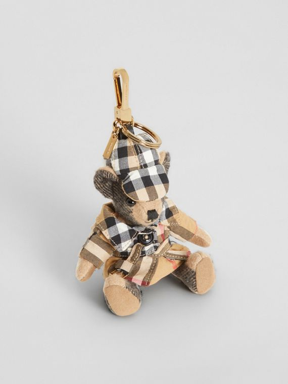 Thomas Bear Charm in Vintage Check Trench Coat in Camel