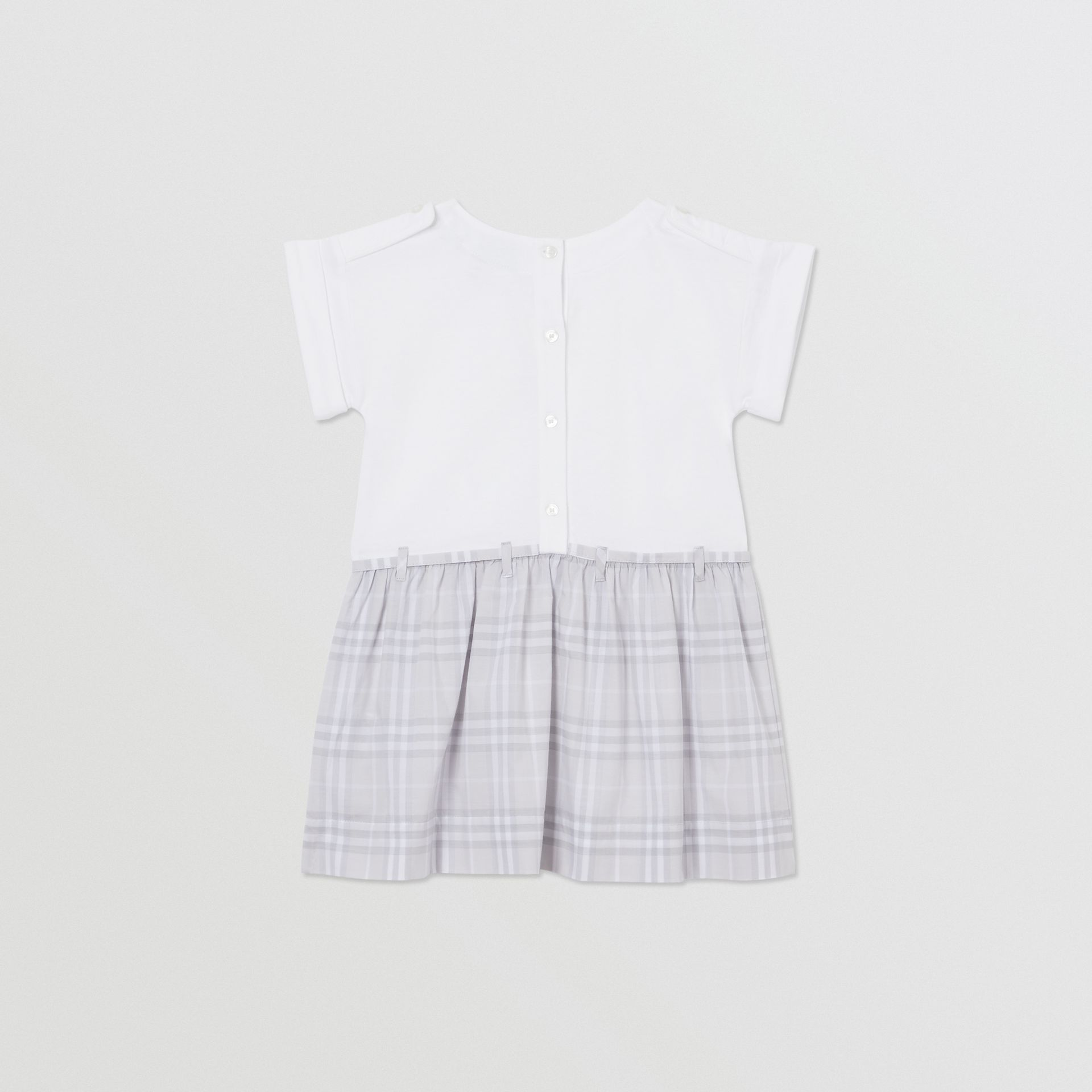 Check Detail Cotton Dress in White - Children | Burberry - gallery image 3