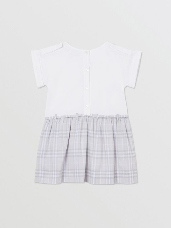 Check Detail Cotton Dress in White - Children | Burberry - cell image 3