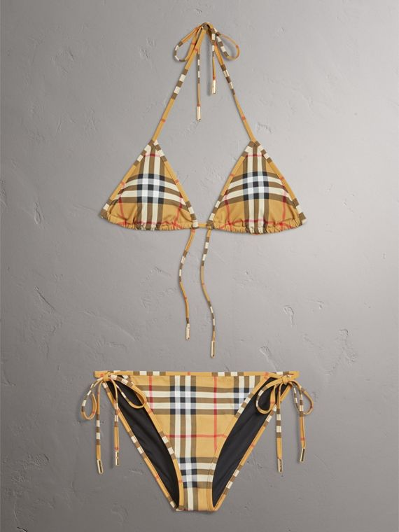 Vintage Check Triangle Bikini in Camel