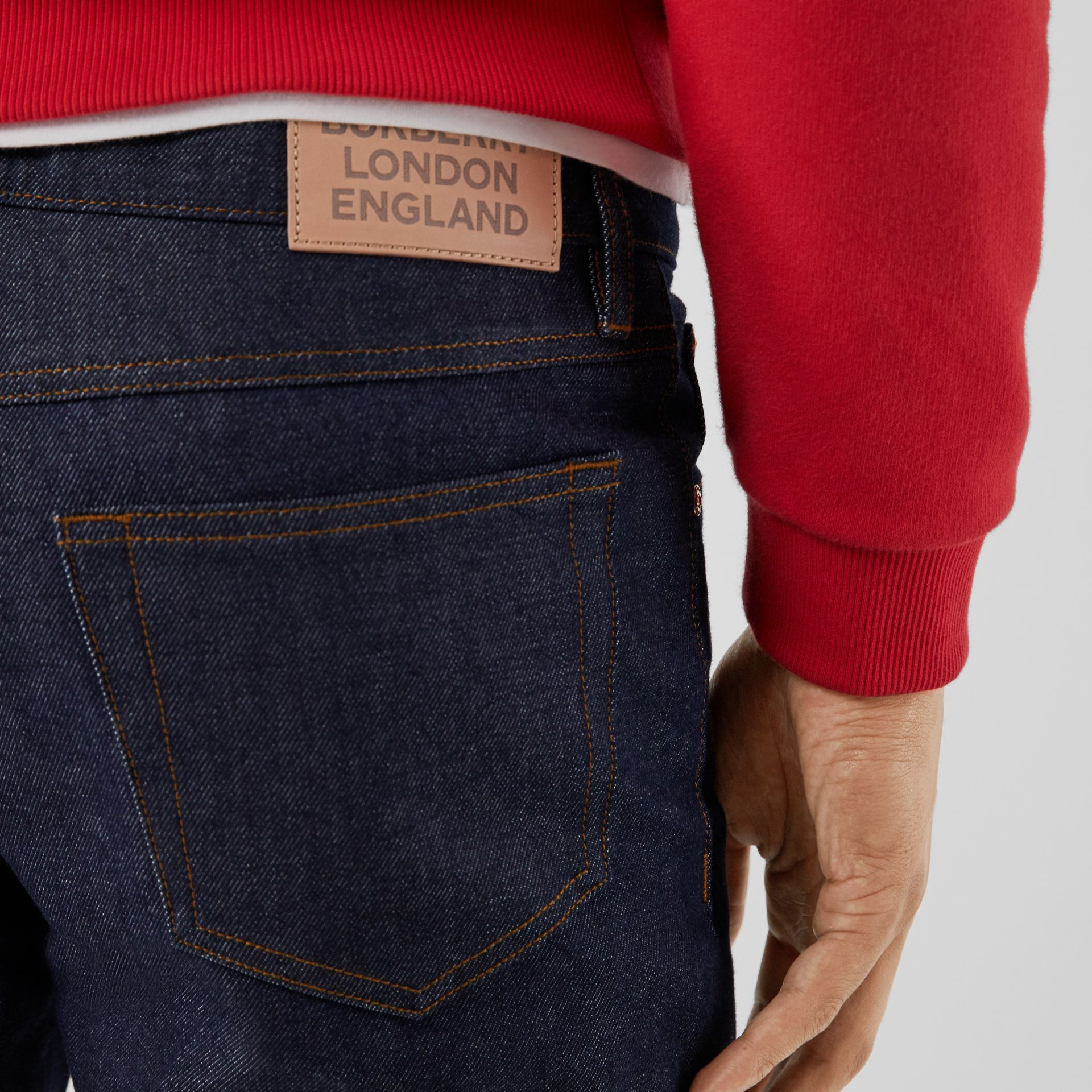 Straight Fit Raw Denim Jeans in Indigo - Men | Burberry - gallery image 1