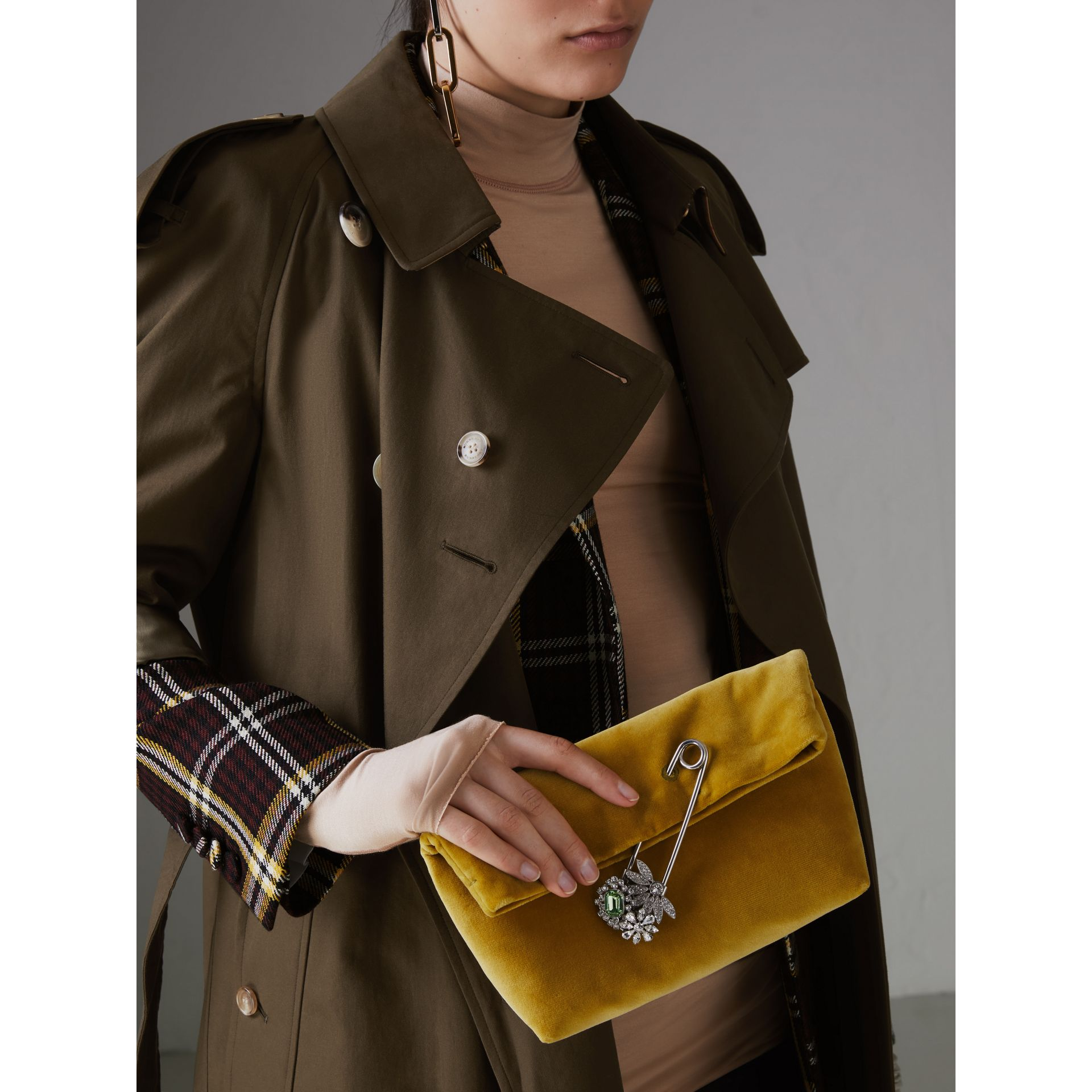 The Small Pin Clutch in Velvet in Larch Yellow - Women | Burberry - gallery image 3