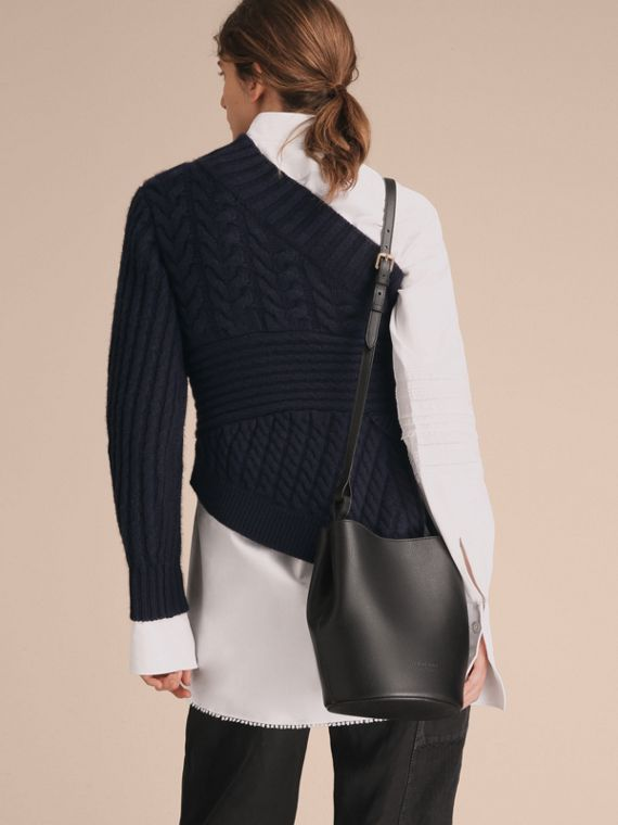 Leather and Haymarket Check Crossbody Bucket Bag in Black - Women | Burberry Australia - cell image 2