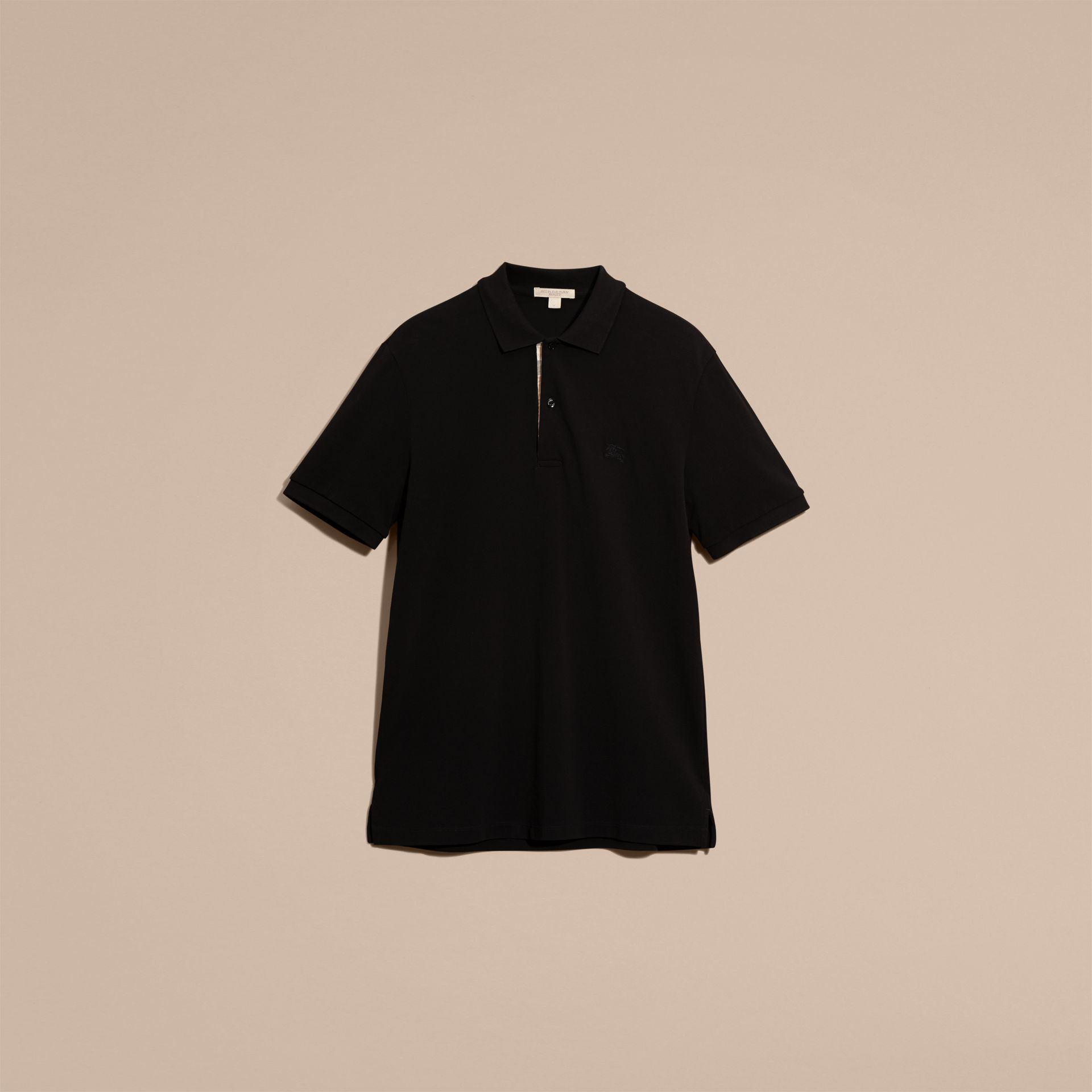 Black Check Placket Cotton Piqué Polo Shirt Black - gallery image 4