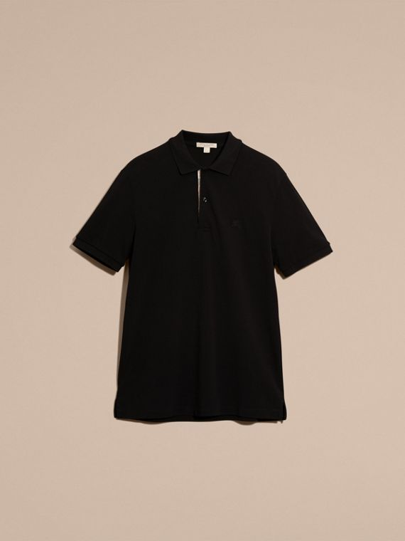 Check Placket Cotton Piqué Polo Shirt Black - cell image 3