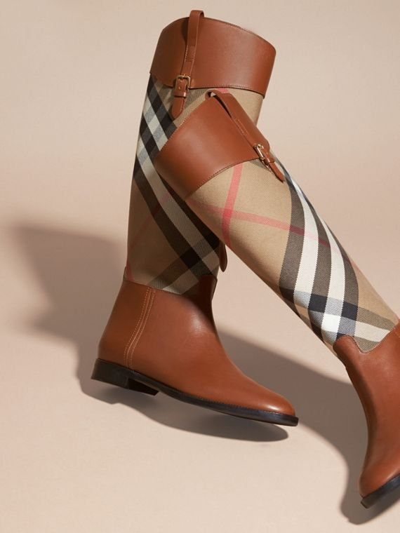 House Check and Leather Riding Boots in Chestnut - Women | Burberry - cell image 2