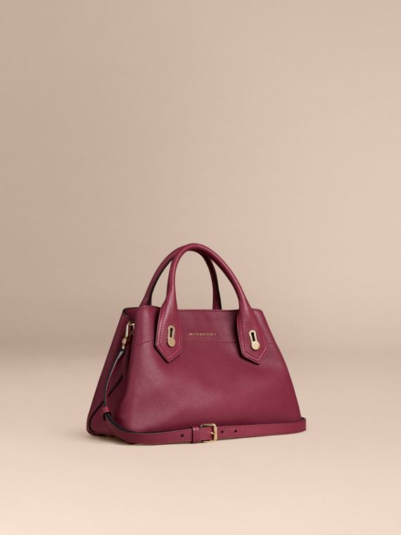 The Small Milton in Grainy Leather Dark Plum