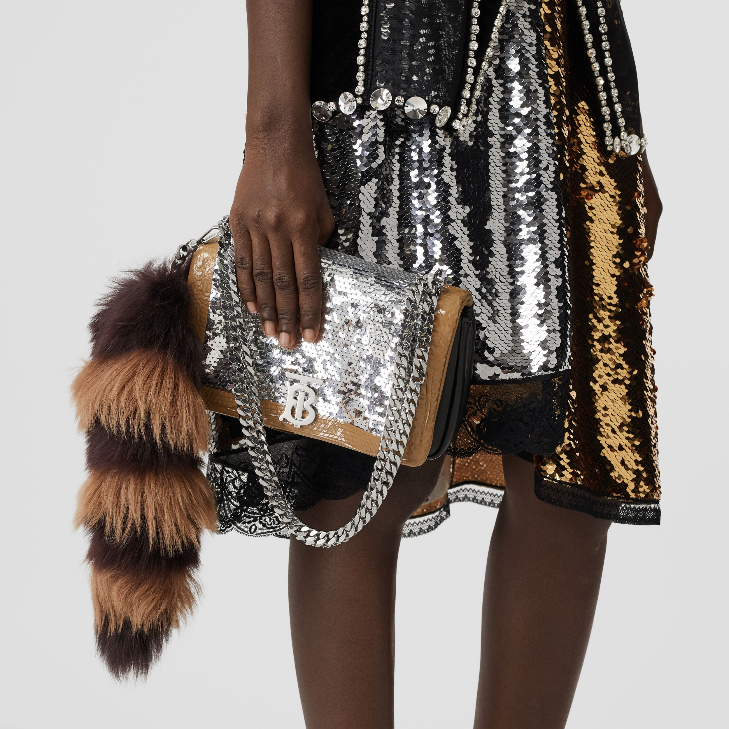 Small Tape Detail Sequinned Lambskin Lola Bag in Black - Women | Burberry - 3
