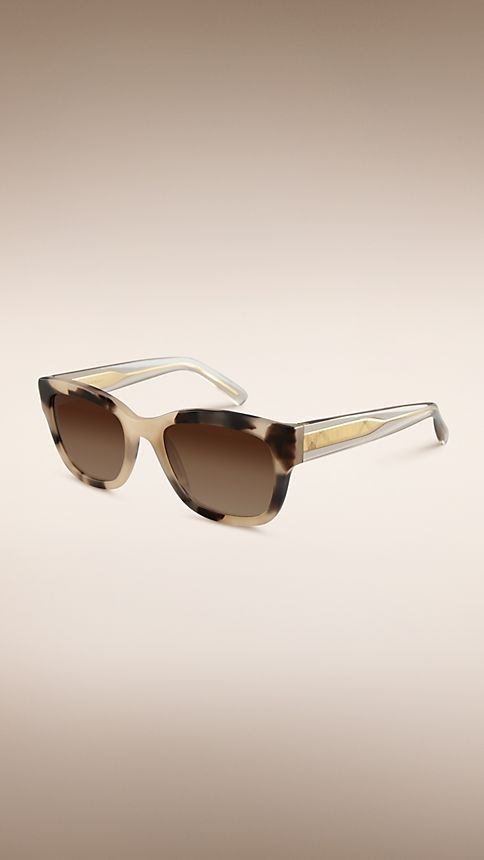 Mid tone horn Trench Collection Square Frame Sunglasses - Image 1