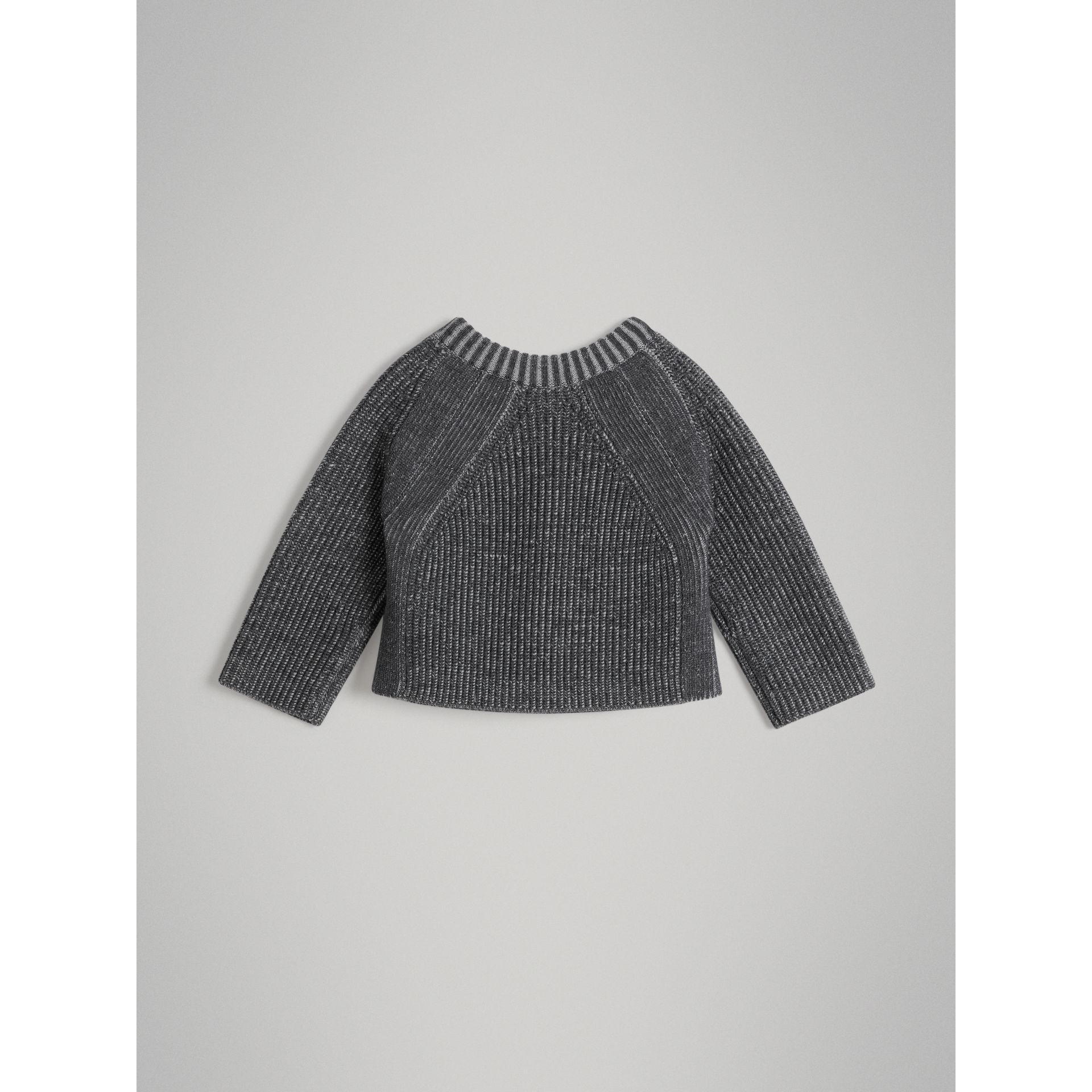 Rib Knit Merino Wool Sweater in Grey Melange - Children | Burberry - gallery image 3