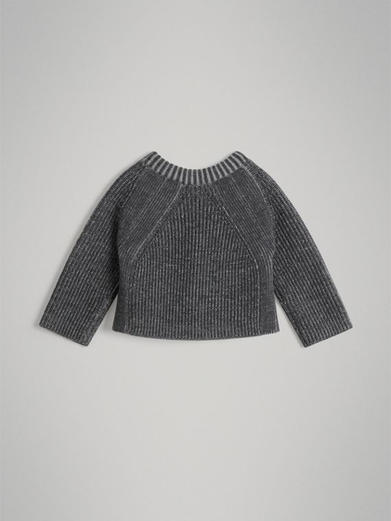 Rib Knit Merino Wool Sweater in Grey Melange | Burberry - cell image 3