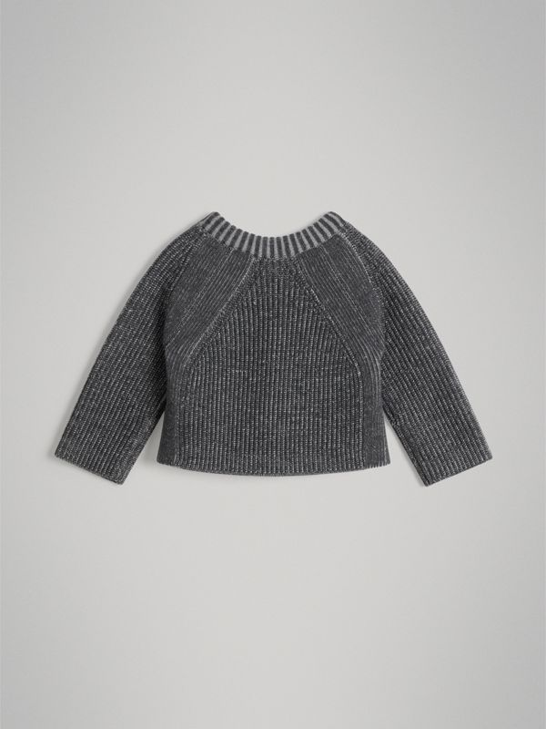 Rib Knit Merino Wool Sweater in Grey Melange - Children | Burberry - cell image 3