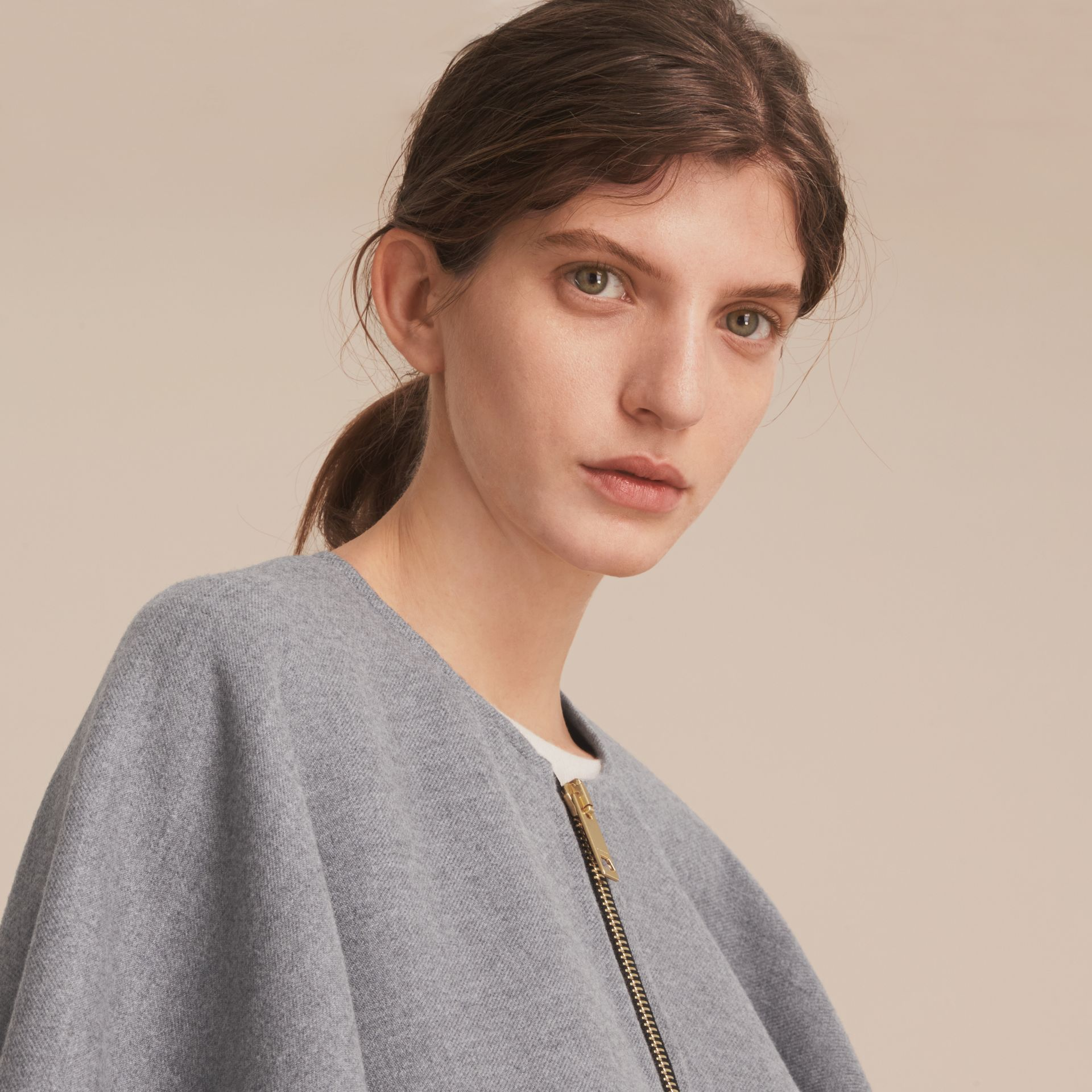 Merino Wool Poncho in Light Grey - Women | Burberry - gallery image 5