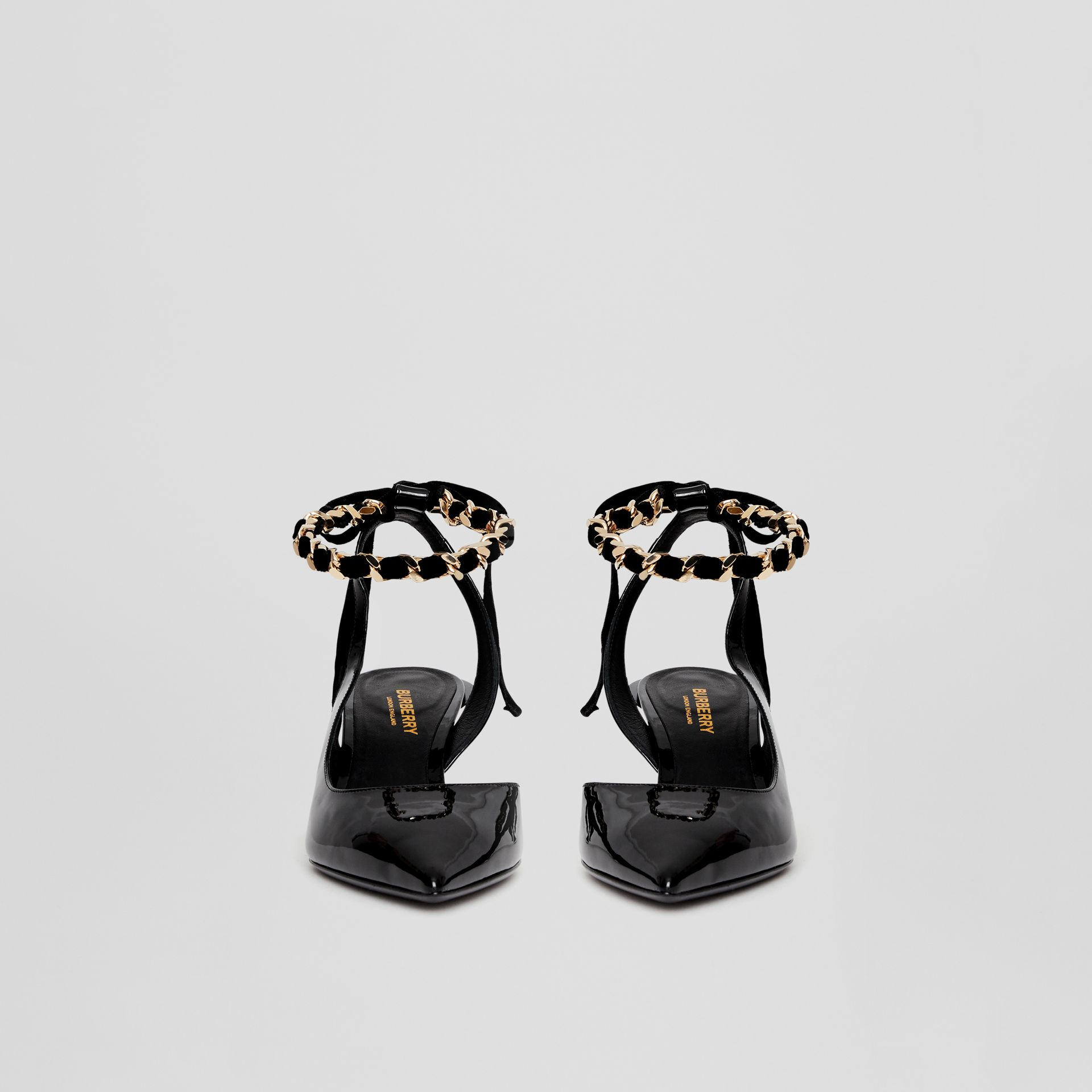 Chain Detail Leather Slingback Pumps in Black - Women | Burberry Canada - gallery image 3