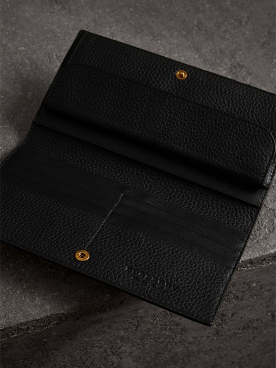 Embossed Leather Continental Wallet in Black - Women | Burberry Australia - cell image 3