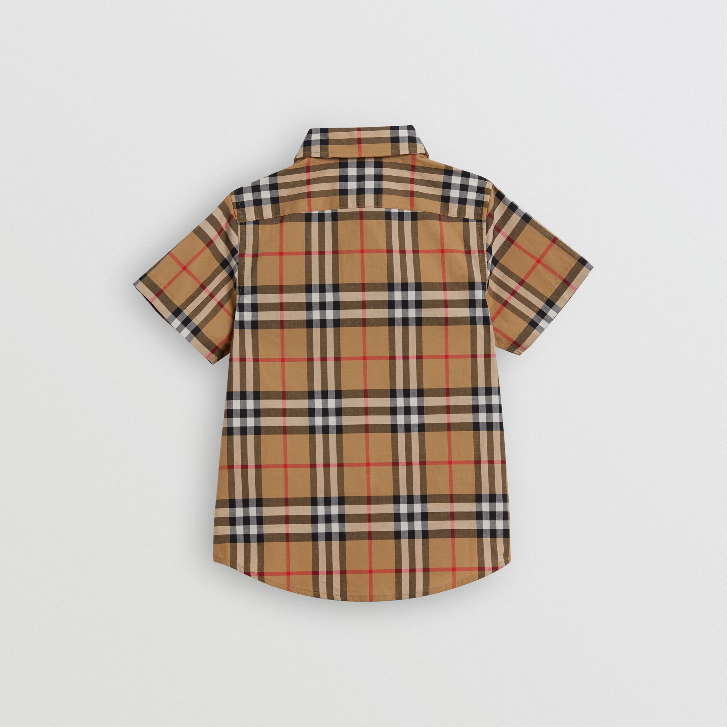 Short-sleeve Vintage Check Cotton Shirt in Antique Yellow - Boy | Burberry - 4