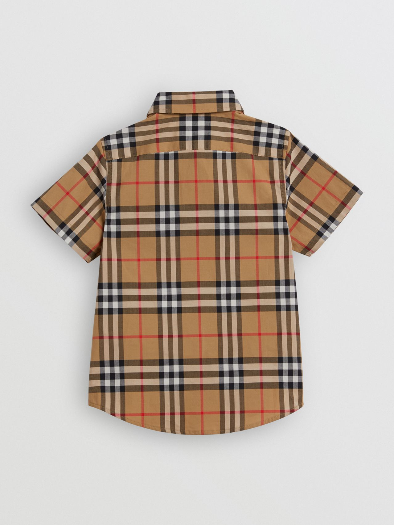 Short-sleeve Vintage Check Cotton Shirt in Antique Yellow