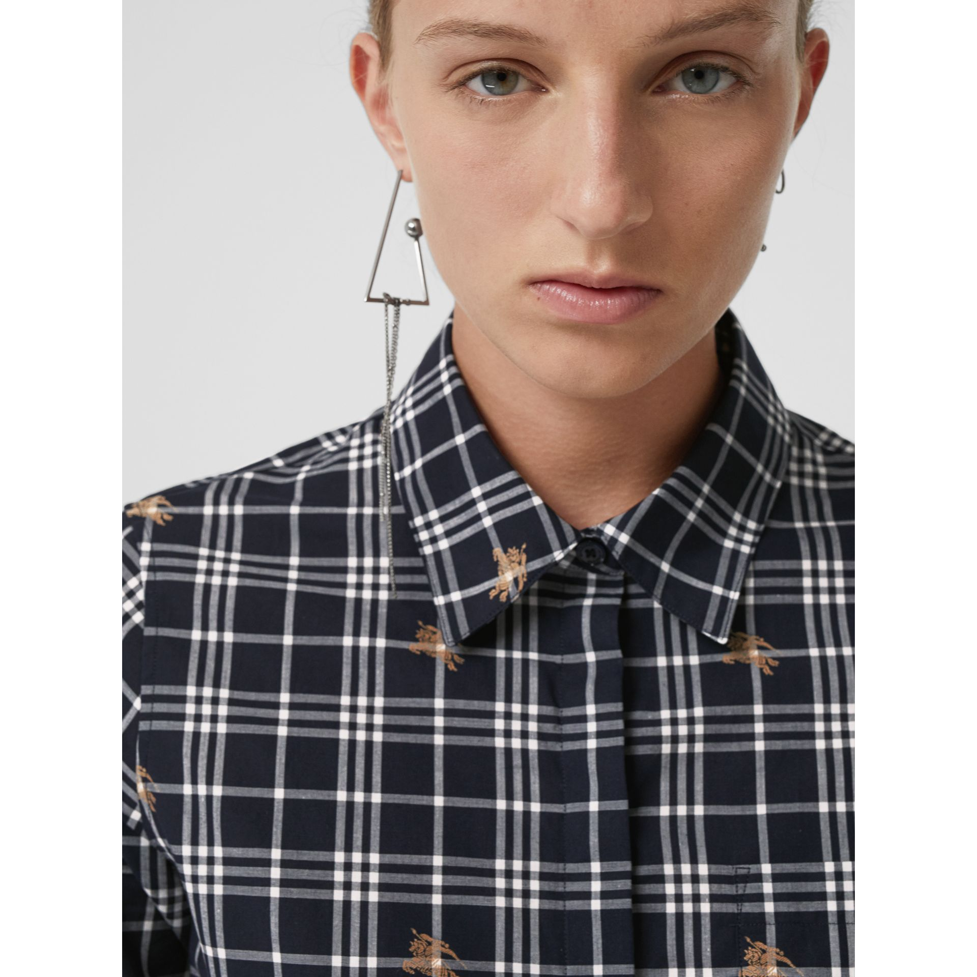 Equestrian Knight Check Cotton Shirt in Navy - Women | Burberry - gallery image 1