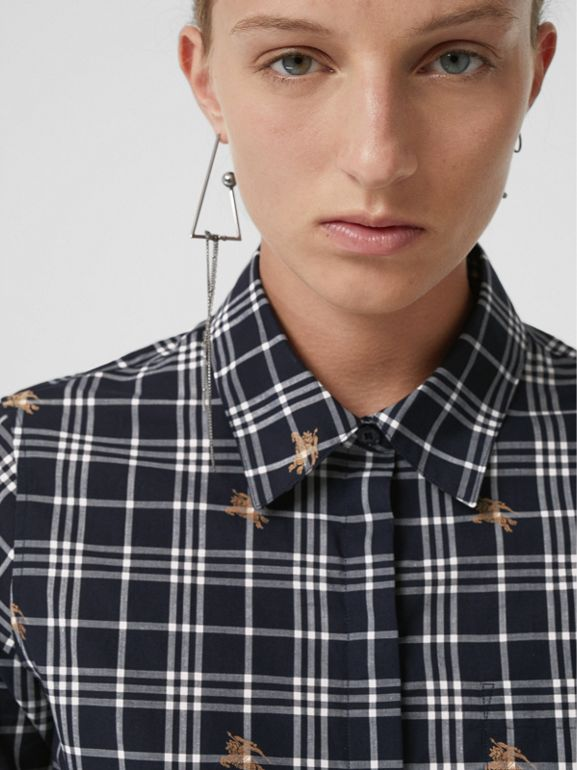 Equestrian Knight Check Cotton Shirt in Navy - Women | Burberry Australia - cell image 1