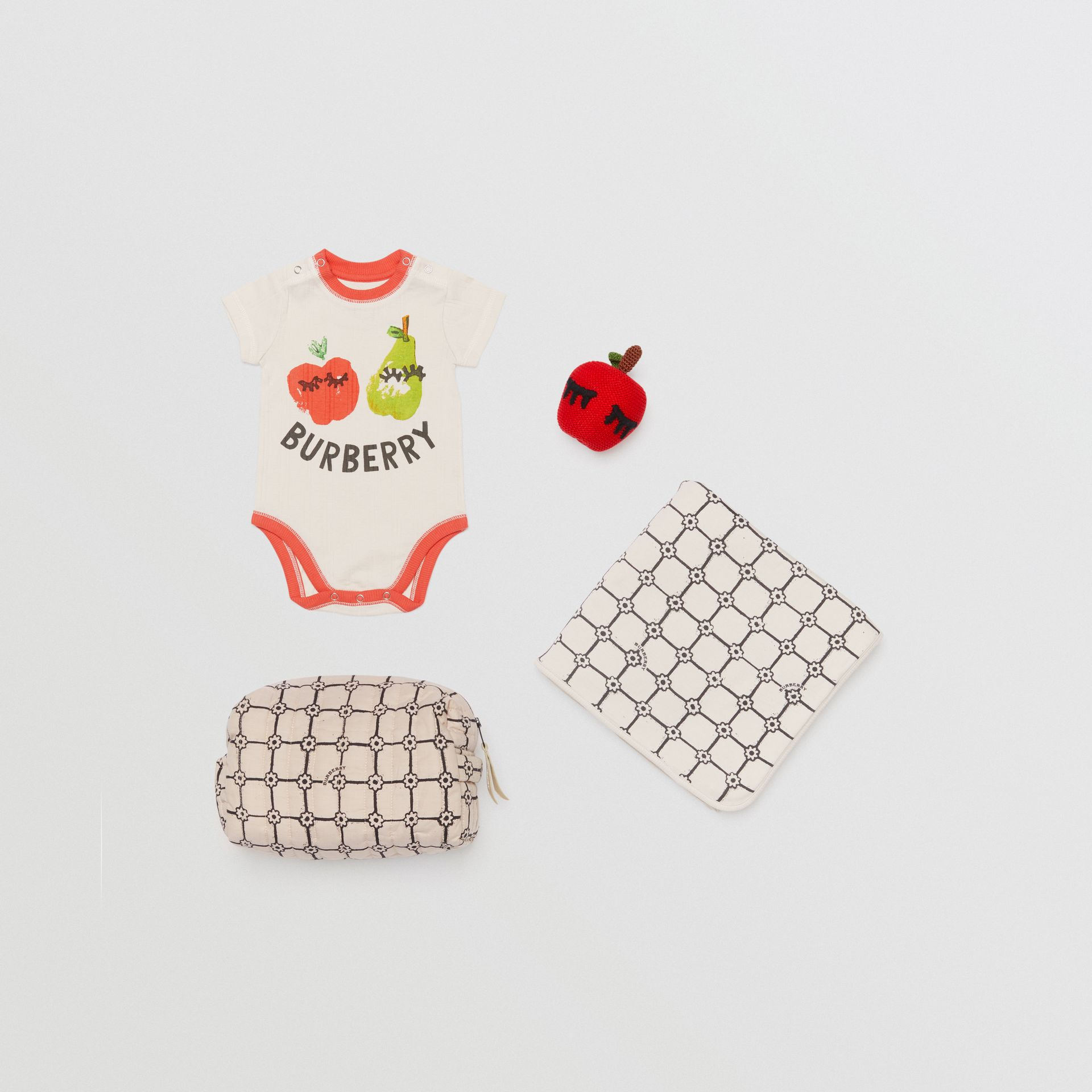 Fruit and Flower Print Three-piece Baby Gift Set in Stone - Children | Burberry - gallery image 0