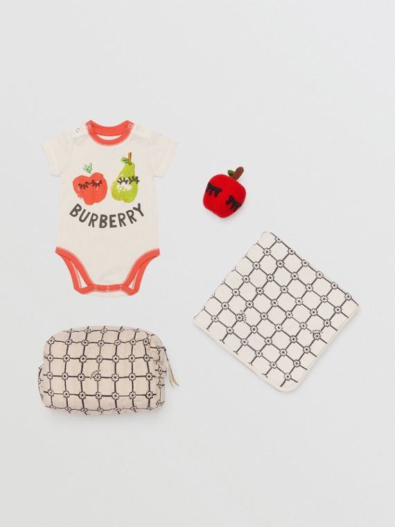 Fruit and Flower Print Three-piece Baby Gift Set in Stone