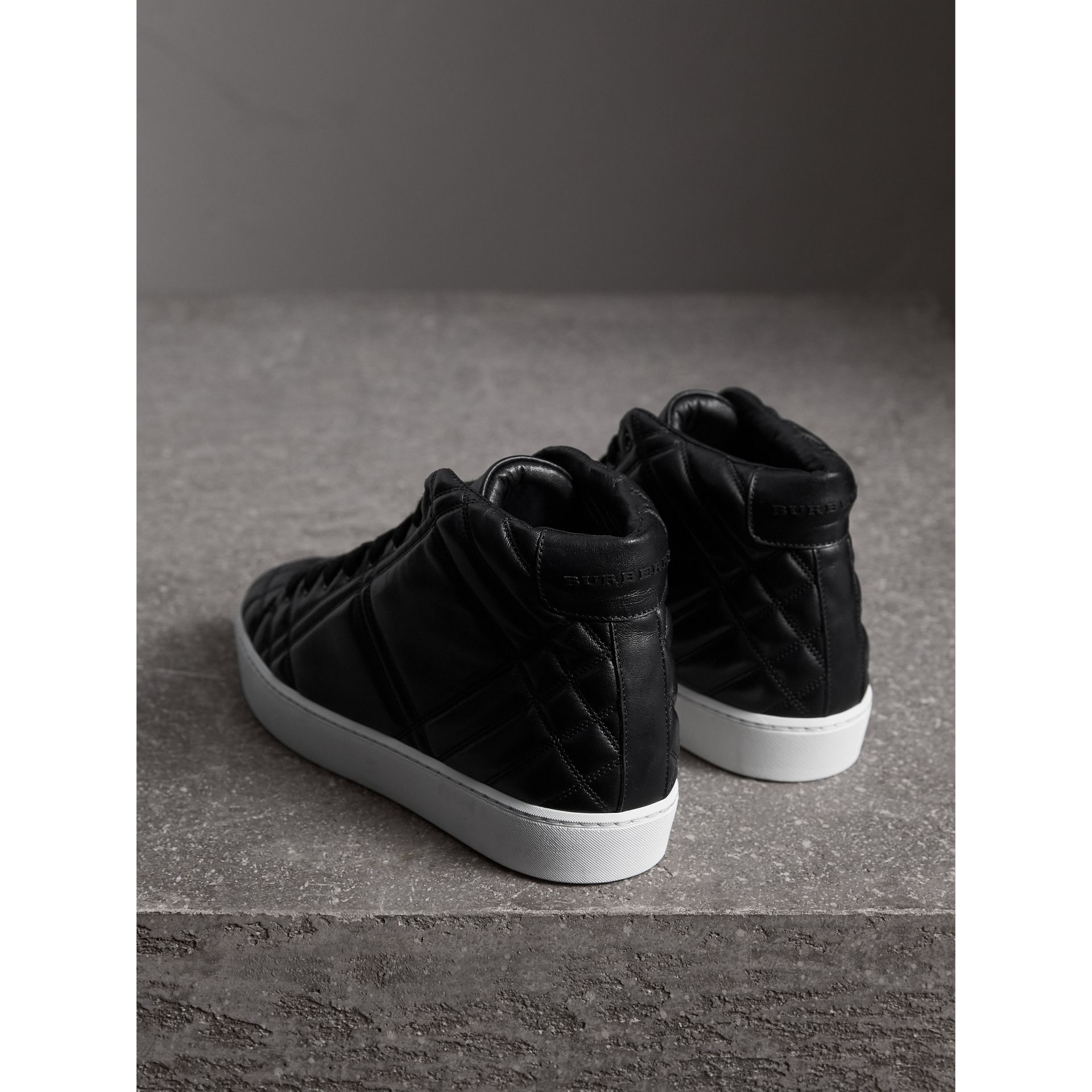 Check-quilted Leather High-top Trainers in Black - Women | Burberry Singapore - gallery image 3