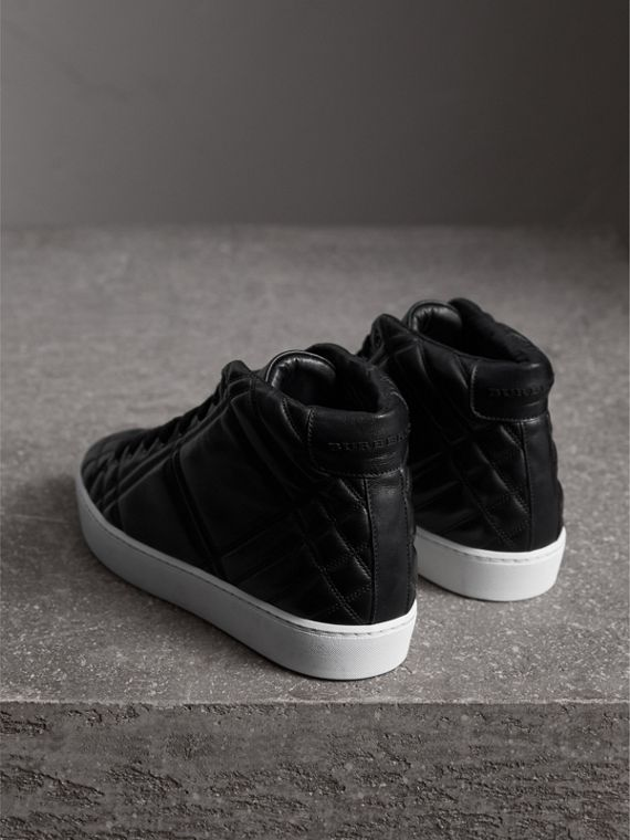 Check-quilted Leather High-top Trainers in Black - Women | Burberry Singapore - cell image 2