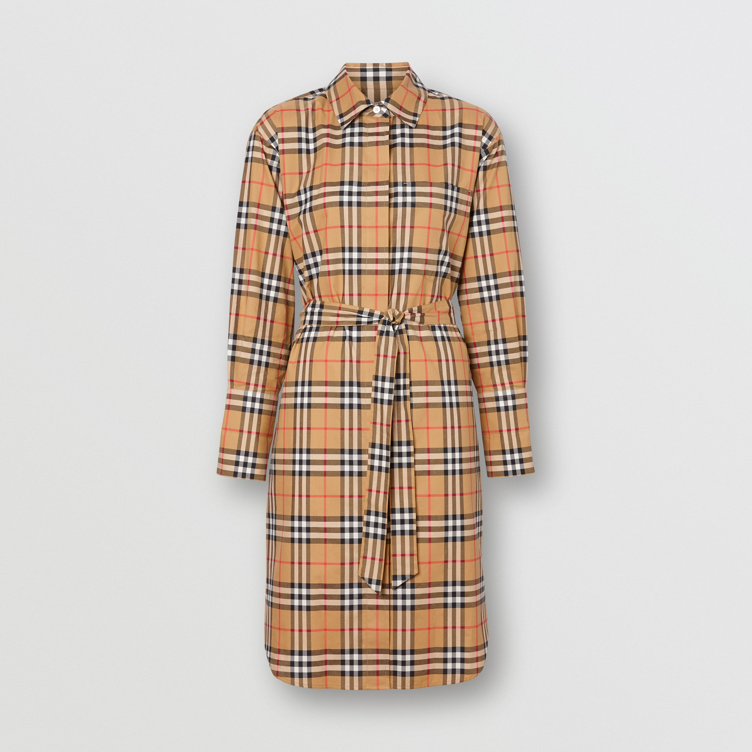 Vintage Check Cotton Tie-waist Shirt Dress in Antique Yellow - Women | Burberry - 4