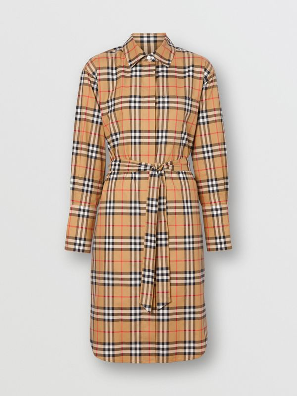 Vintage Check Cotton Tie-waist Shirt Dress in Antique Yellow - Women | Burberry United Kingdom - cell image 3