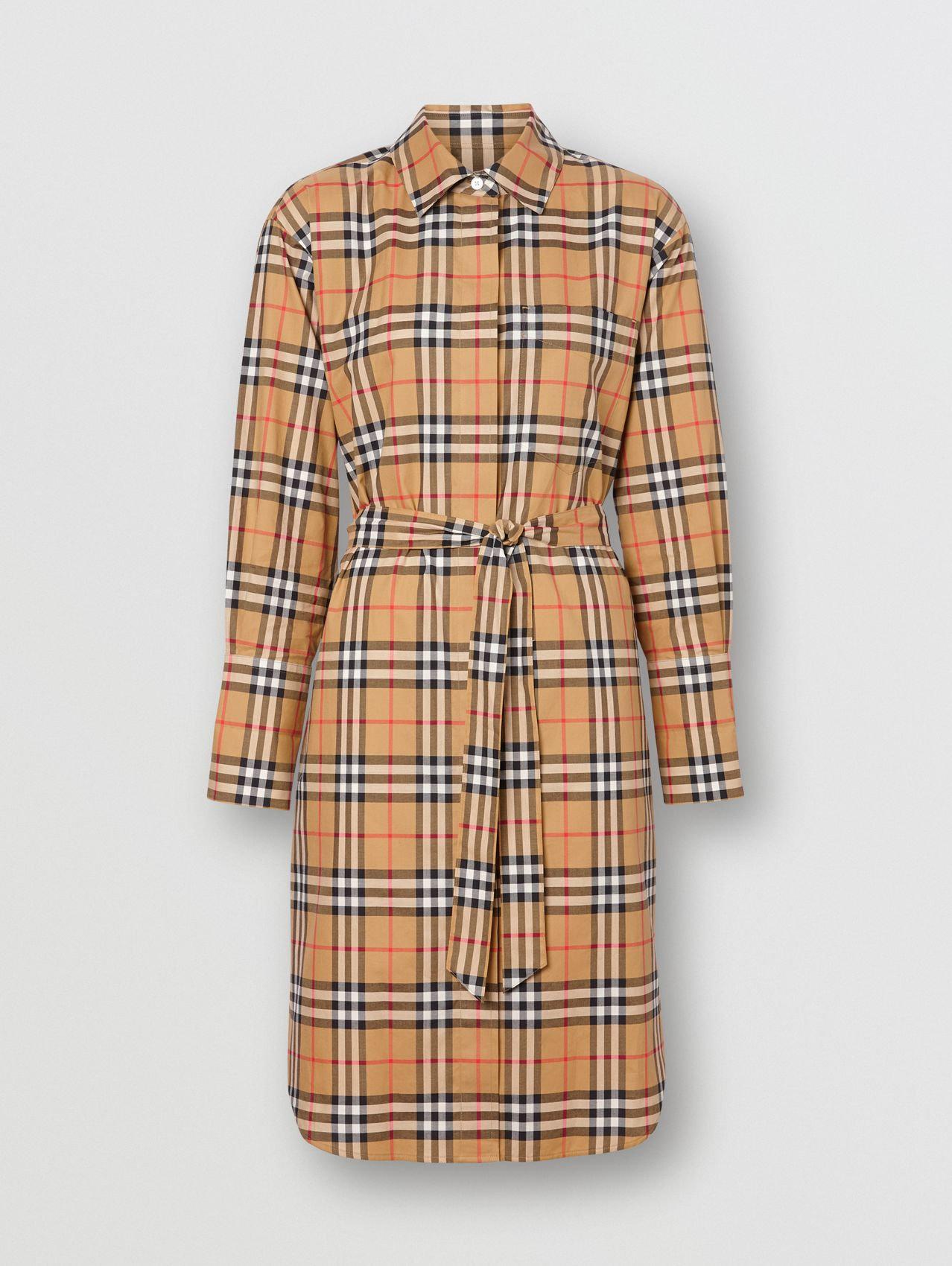 Vintage Check Cotton Tie-waist Shirt Dress in Antique Yellow