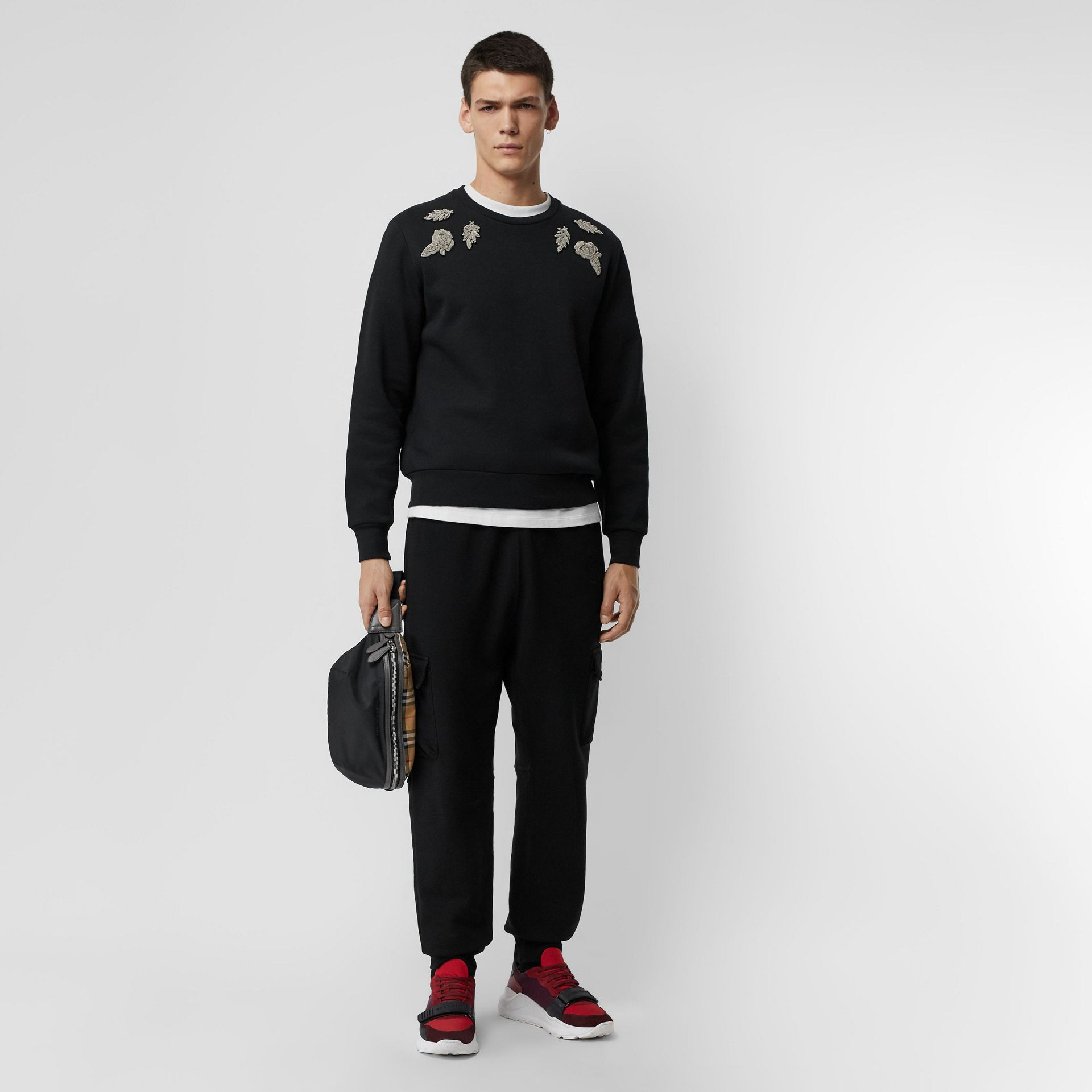 Bullion Floral Cotton Blend Sweatshirt in Black - Men | Burberry - gallery image 0