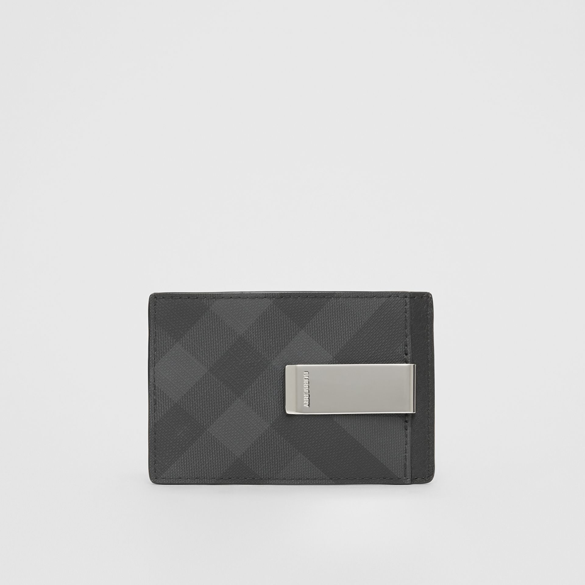 London Check and Leather Money Clip Card Case in Dark Charcoal - Men | Burberry United Kingdom - gallery image 4