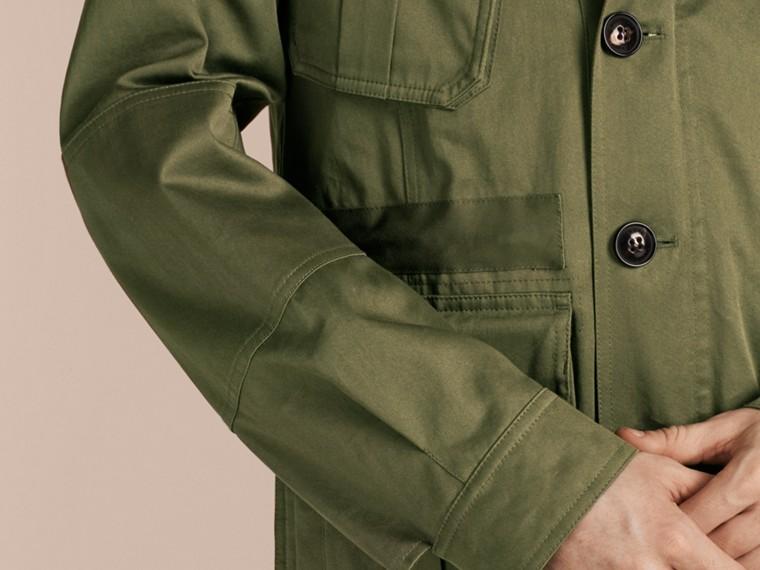 Olive Veste utilitaire en coton à capuche - cell image 4