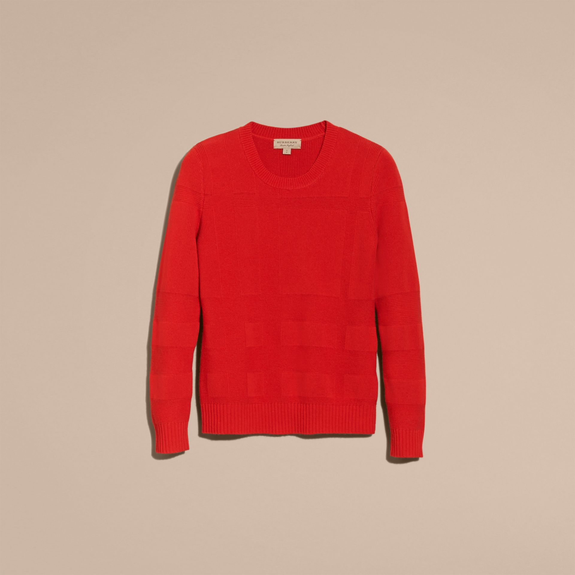 Bright military red Check-knit Wool Cashmere Sweater Bright Military Red - gallery image 4