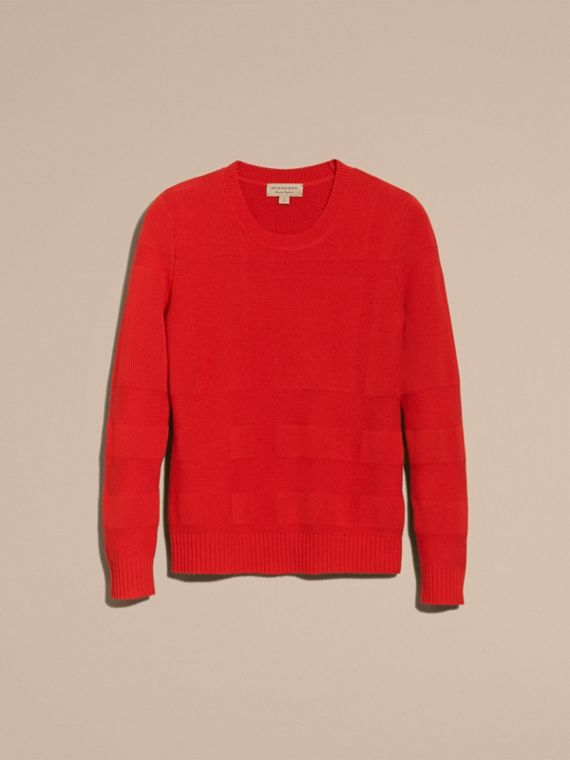 Bright military red Check-knit Wool Cashmere Sweater Bright Military Red - cell image 3