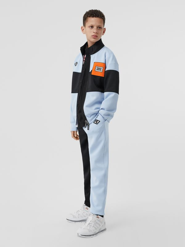 Logo Graphic Two-tone Stretch Jersey Trackpants in Pale Blue | Burberry United Kingdom - cell image 3