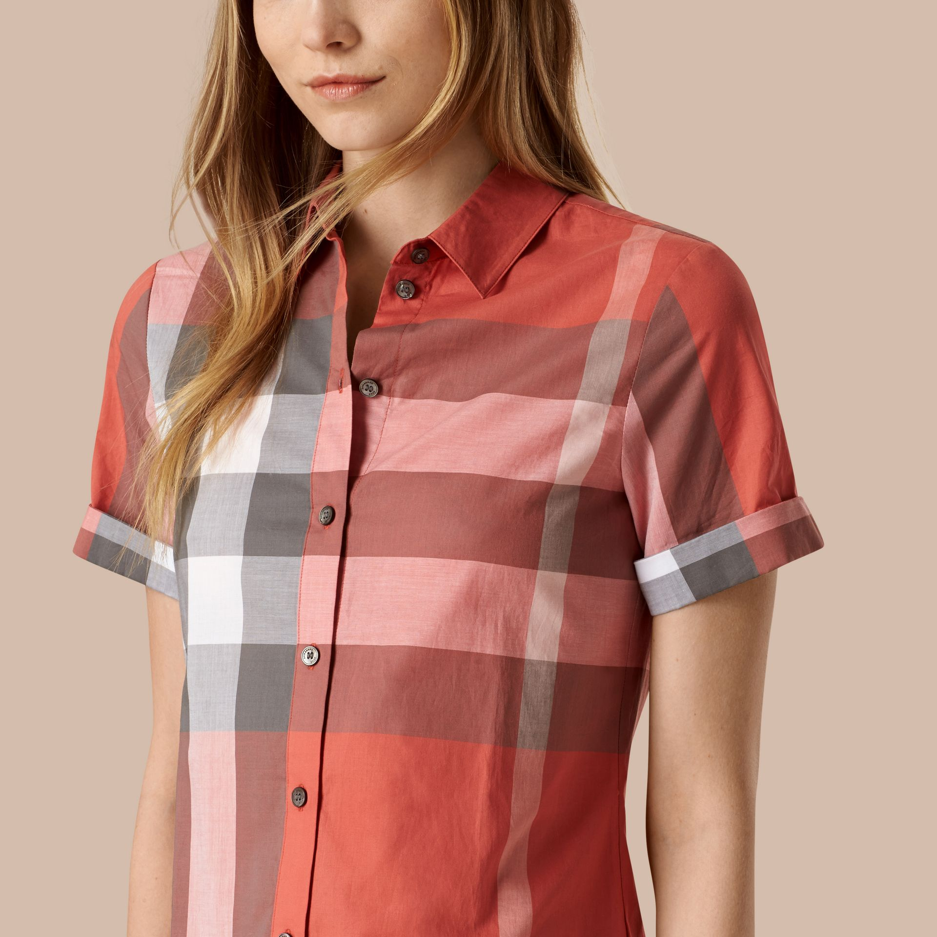 Copper pink Short-sleeved Check Cotton Shirt Copper Pink - gallery image 4