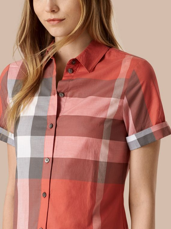 Copper pink Short-sleeved Check Cotton Shirt Copper Pink - cell image 3