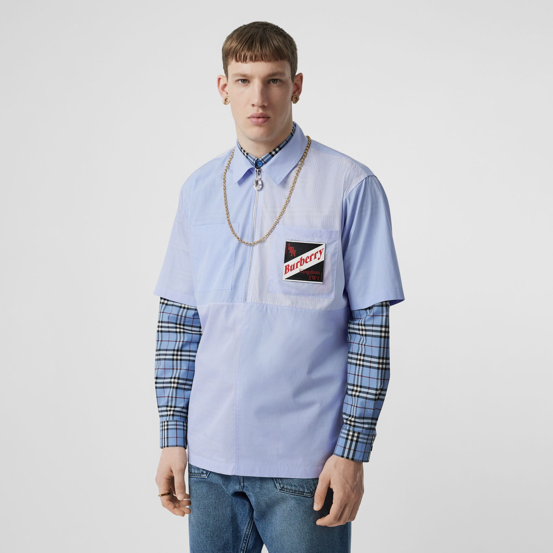 Short-sleeve Logo Graphic Patchwork Cotton Shirt in Pale Blue - Men | Burberry - gallery image 0