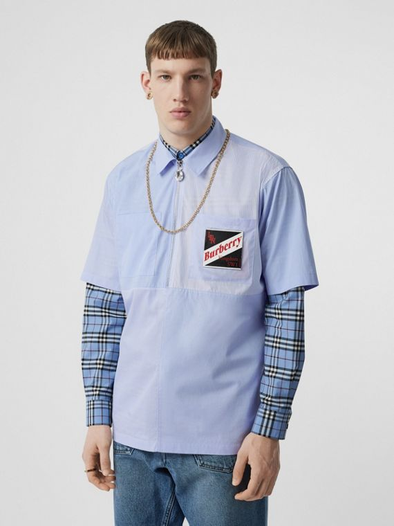 Short-sleeve Logo Graphic Patchwork Cotton Shirt in Pale Blue
