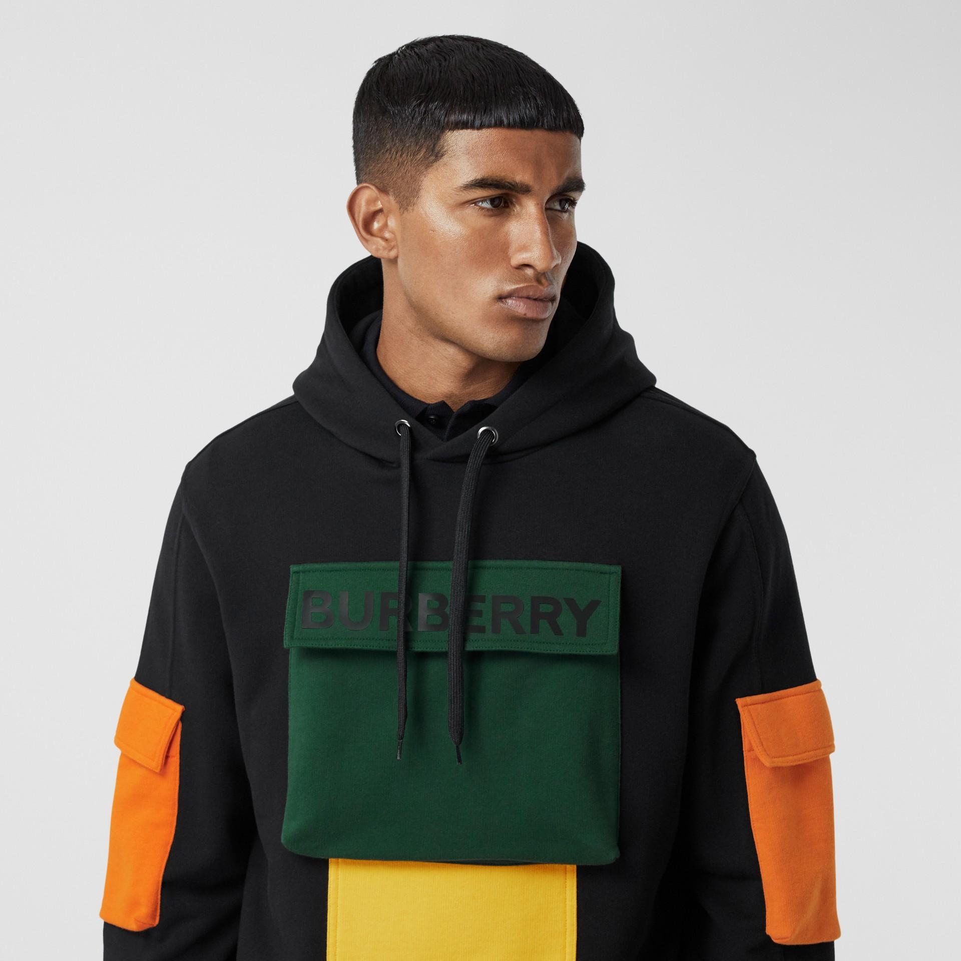 Logo Print Colour Block Cotton Hoodie in Black - Men | Burberry - gallery image 1