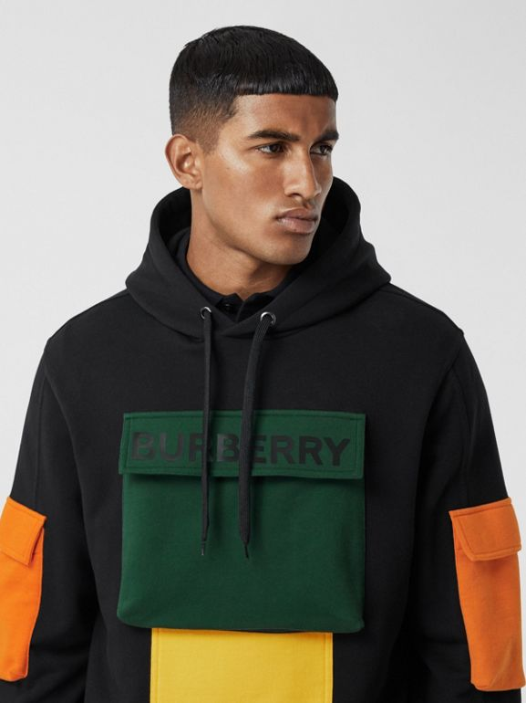 Logo Print Colour Block Cotton Hoodie in Black - Men | Burberry - cell image 1
