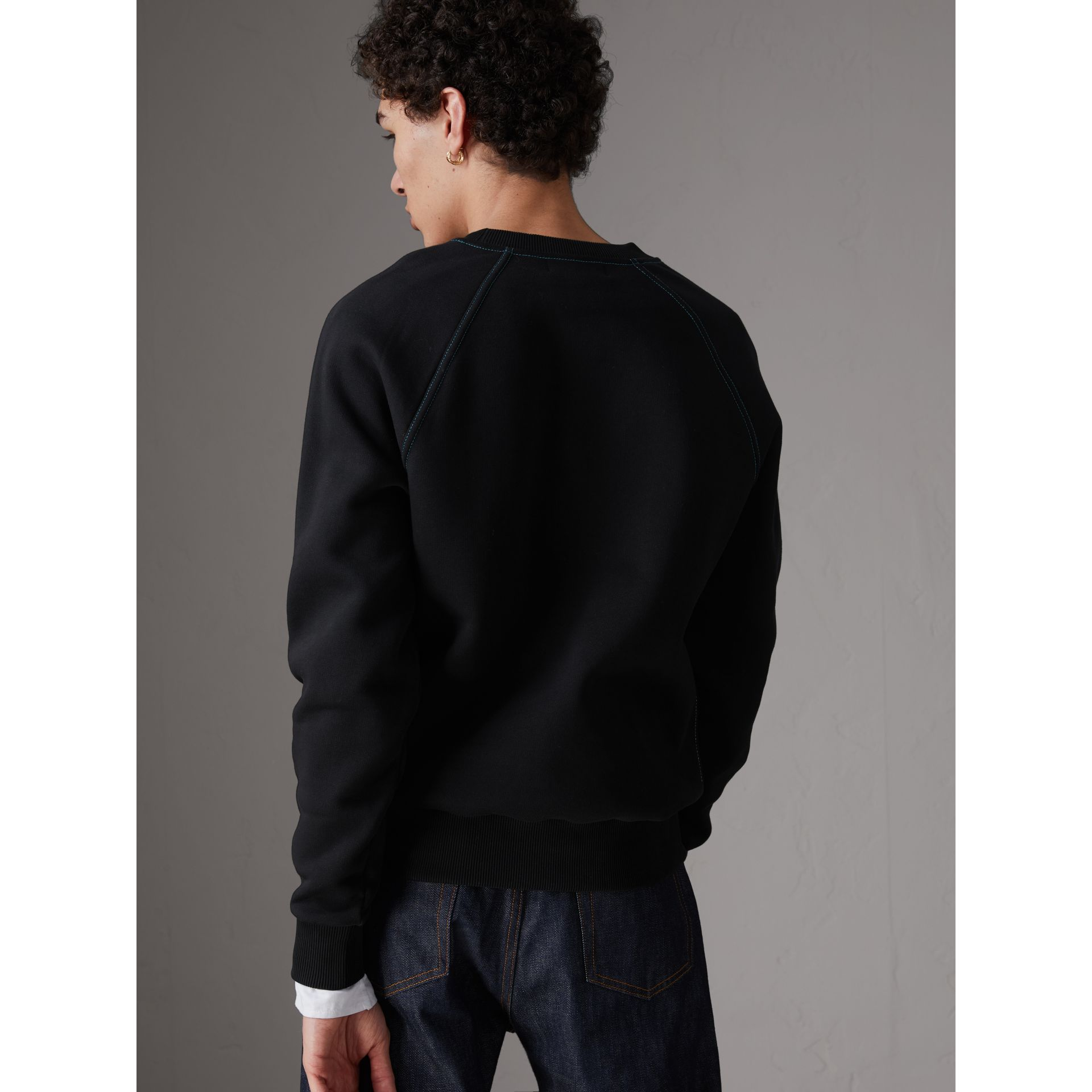 Embroidered Jersey Sweatshirt in Black - Men | Burberry United Kingdom - gallery image 2
