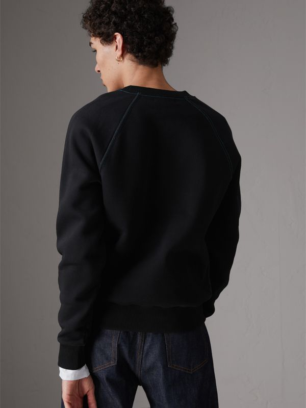 Embroidered Jersey Sweatshirt in Black - Men | Burberry United Kingdom - cell image 2